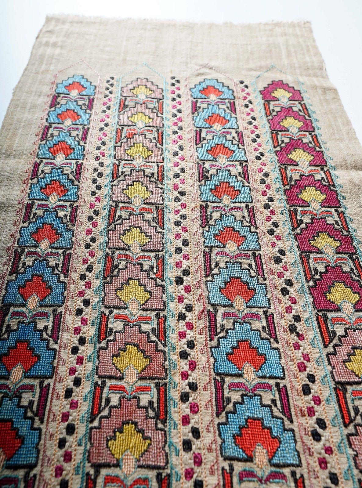 Antique Ottoman Turkish Armenian Greek Yaglik Silk Mihrab Embroidery Textile 375 00 Here Is An Unusual Xixth Century Ottoman Embr Kanavice Desenler Ortuler
