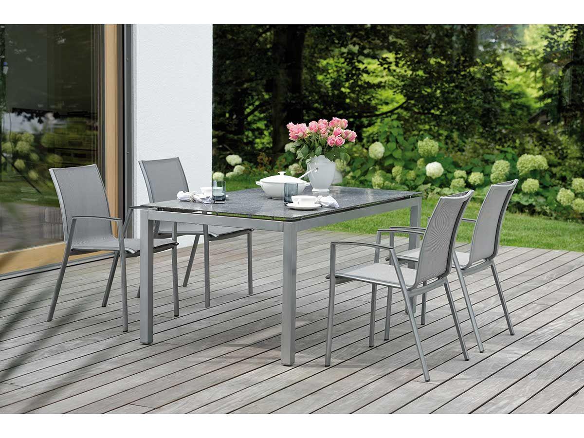 Stern Gartentisch Tischsystem Aluminium Graphit Granit Eisengrau