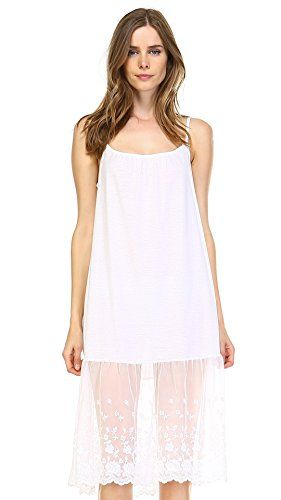 6ea36b43cc Shop Lev Womens Knit Cotton Long Lace Trim Full Slip IVORY LARGE     See  this great product.