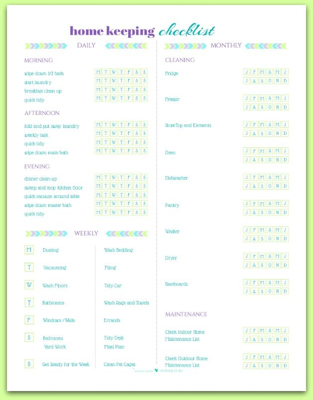 Free Home Keeping Checklist Printable Cleaning schedules, Free - weekly checklist