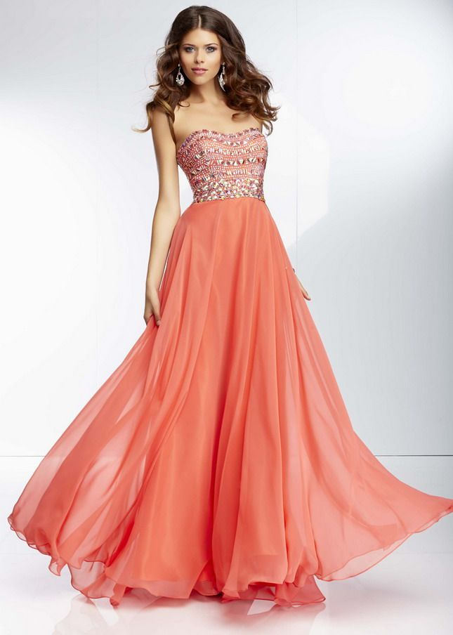 long flowy prom dresses | Mori Lee 95005 Coral Long Sequin Beading ...