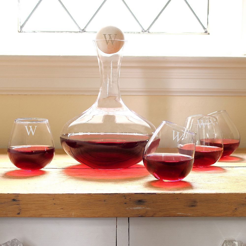 Cathy S Concepts Monogram Wine Decanter And Tipsy Wine Glass Set Personalized Wine Decanter Decanter Wine Glass Set
