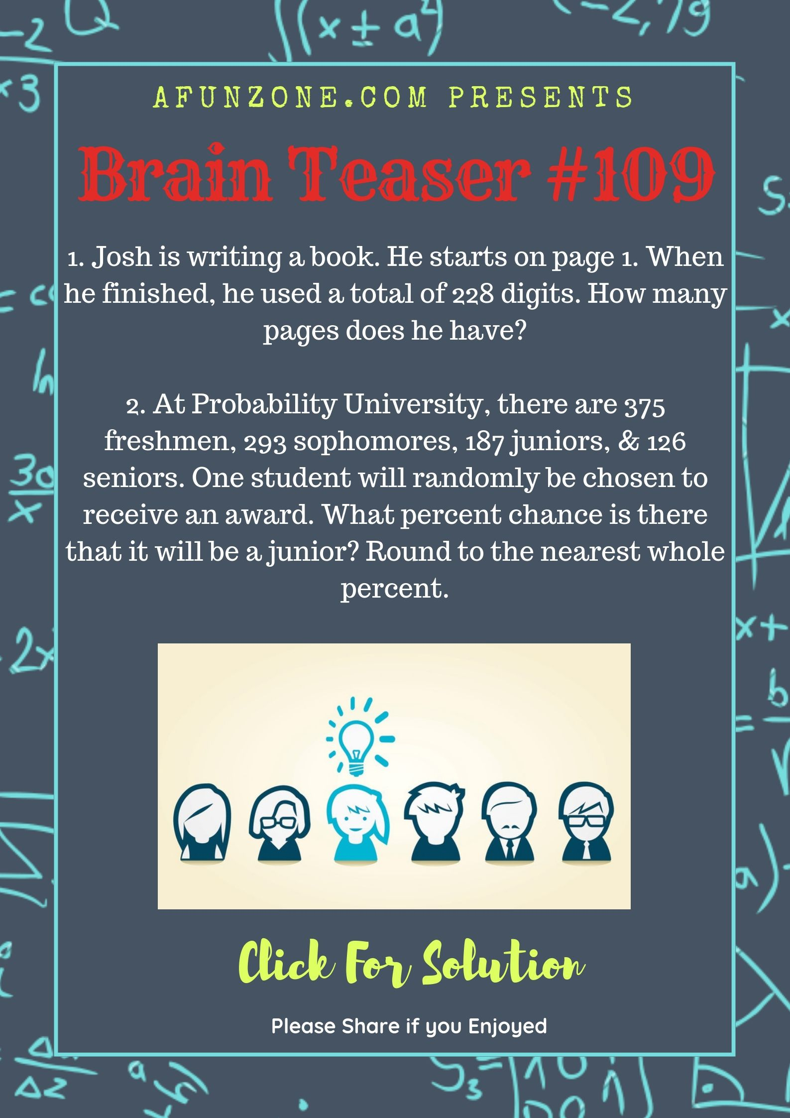 Today's Topic brainteaser Puzzle education percent