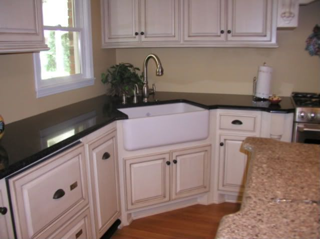 I Went With A Corner Sink After No Other Layout Seemed To Work For Us Moving The Window Was Not An Option Corner Sink Kitchen Corner Sink Kitchen Sink Design