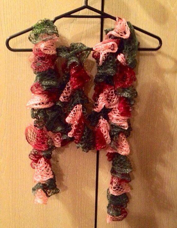 Crochet ruffle scarf, Sashay, pink, magenta, grey on Etsy, $20.00 ...