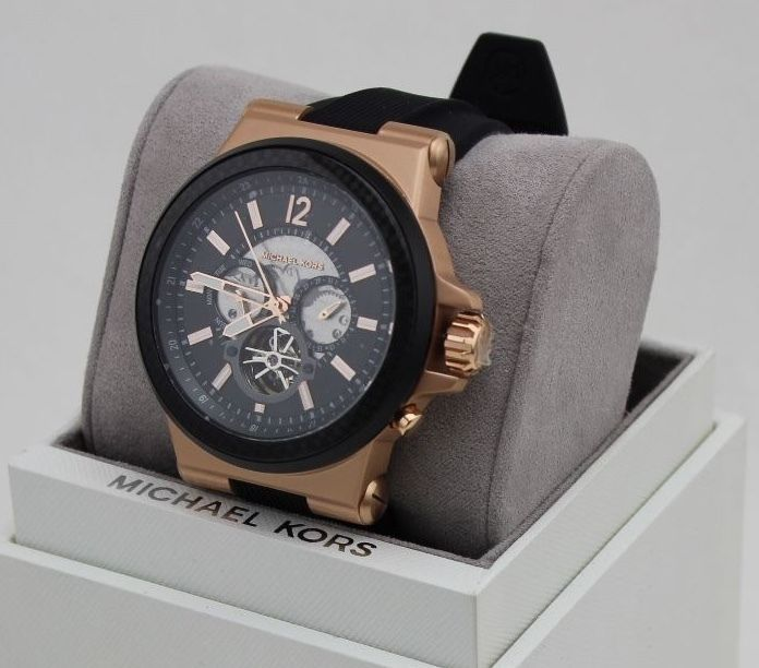 342080099e67 NEW AUTHENTIC MICHAEL KORS DYLAN ROSE GOLD CHRONOGRAPH MENS MK9019 WATCH