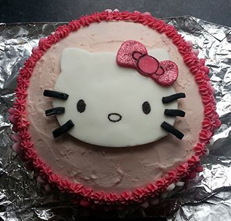 Hello Kittythemed birthday cake baked by Free Cakes for Kids