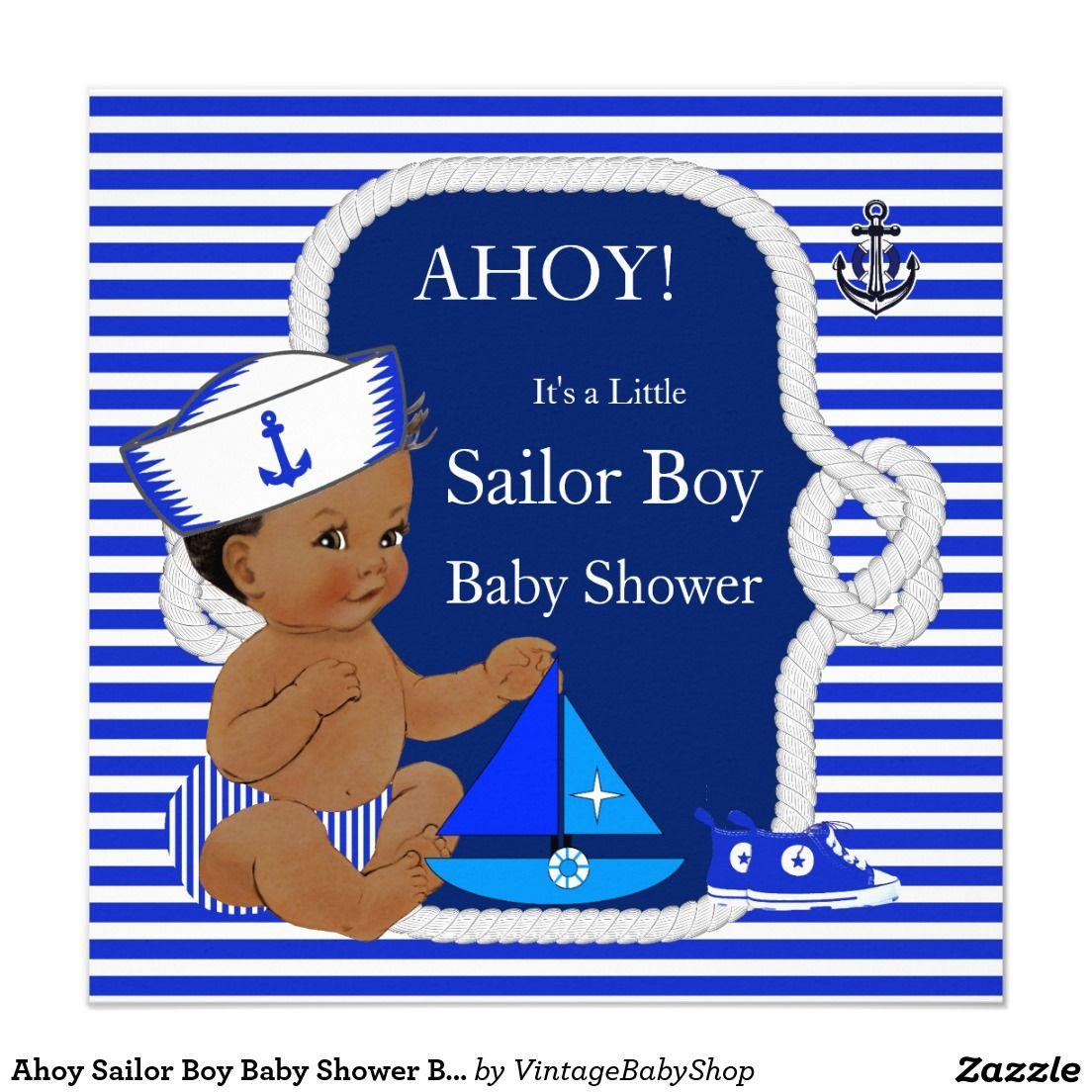 Ahoy Sailor Boy Baby Shower Blue White Ethnic Invitation   Sailor ...