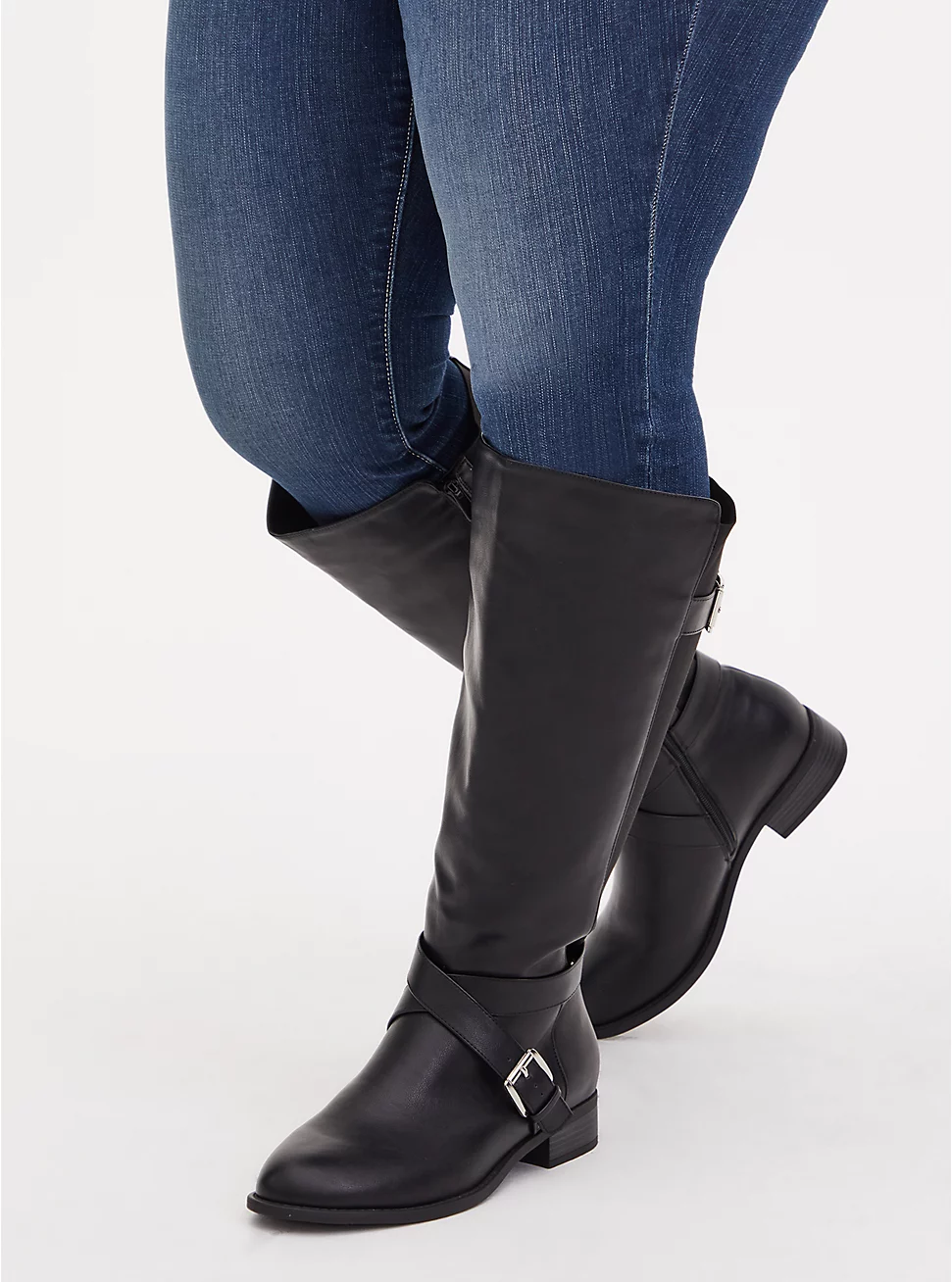 Brooke - Black Faux Leather Buckle Knee-High Boot