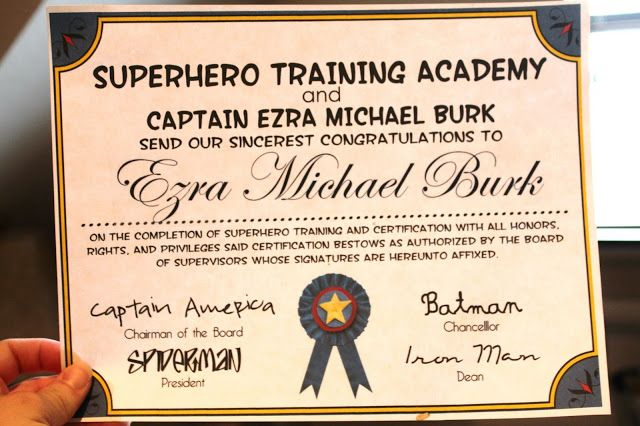 Ezra and Libbyu0027s Superhero Party Superhero Party Pinterest - free training certificate template