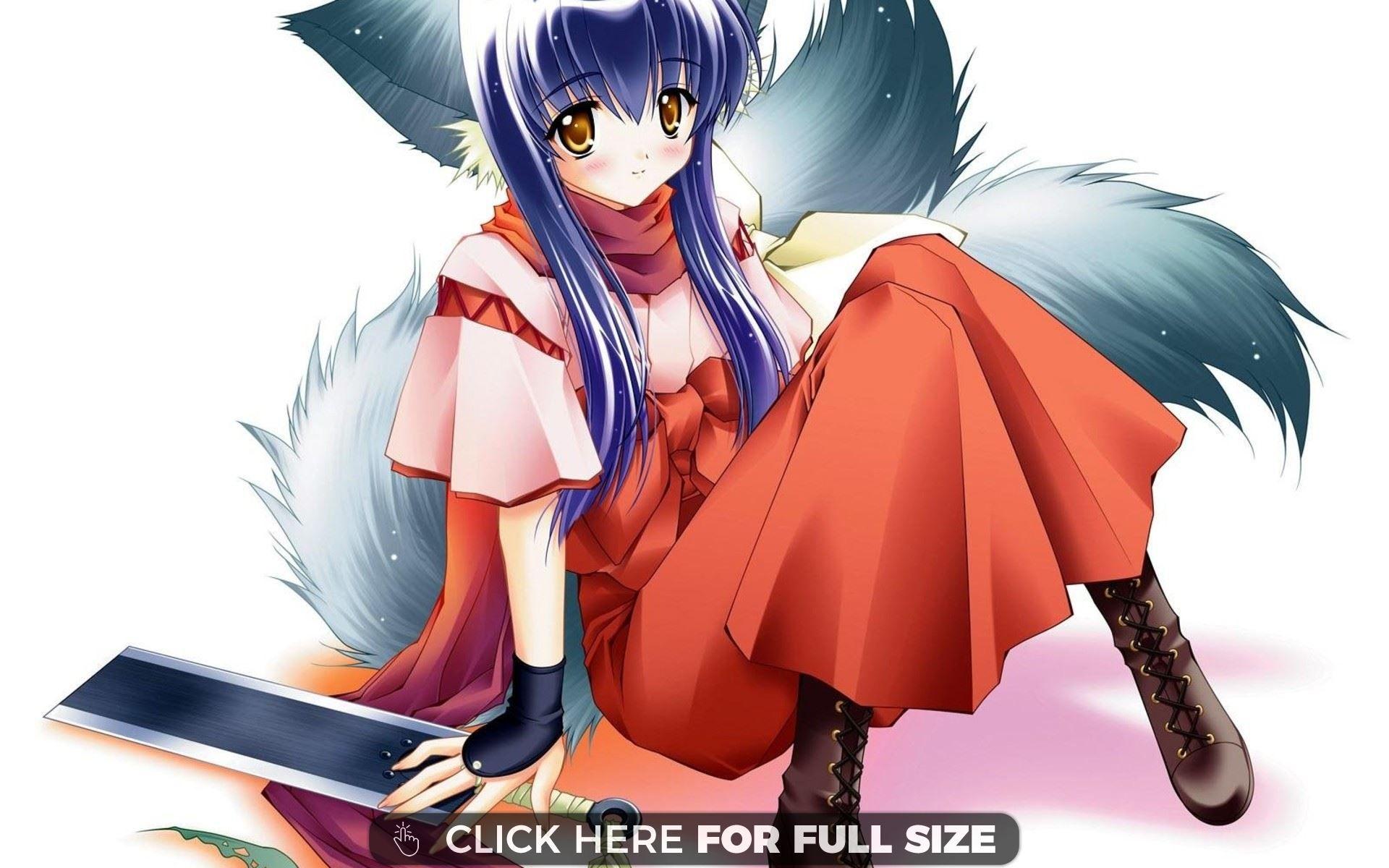 Anime Wolf Girl wallpaper Desktop Wallpapers Pinterest