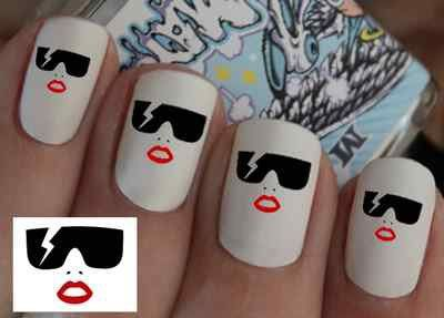 Lady Gaga Nail Wraps Art Water Transfers Decal Natural False Nails Or Do It Yourself
