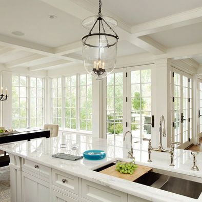 White Kitchen With Lots Of Windows 10 Light French Doors Traditional House Craftsman Kitchen Home