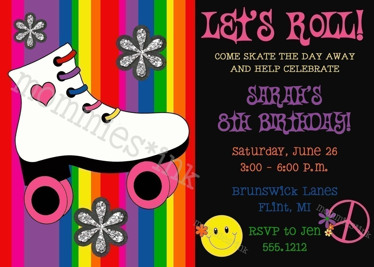 Let\'s Roll - Roller Skating Birthday Party Invitation - PRINTABLE ...