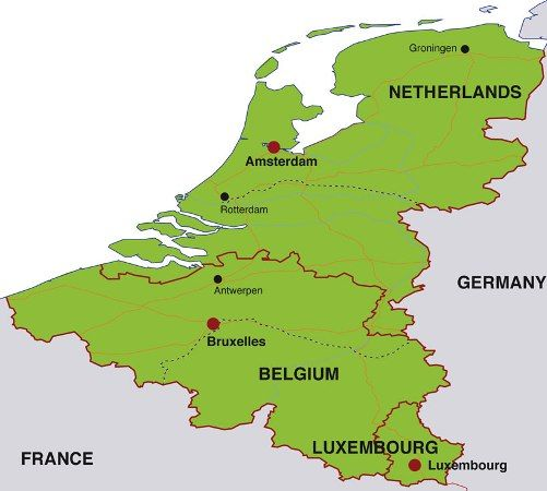 Map Of France And Holland Belgium.Map Of The Netherlands Belgium And Luxembourg Travel The