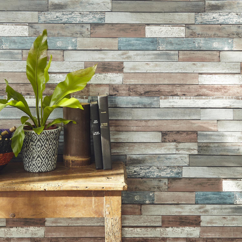 papier peint papier bois recup bleu bleu leroy merlin d co design int rieur pinterest. Black Bedroom Furniture Sets. Home Design Ideas