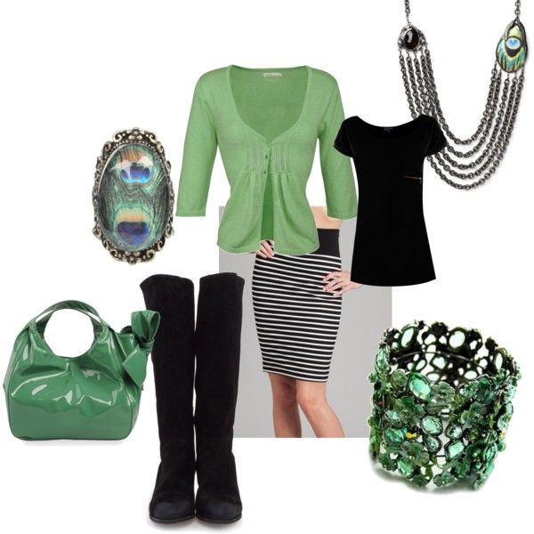 """Green w/ Black & White Stripes"" by amyjoyful1 on Polyvore"