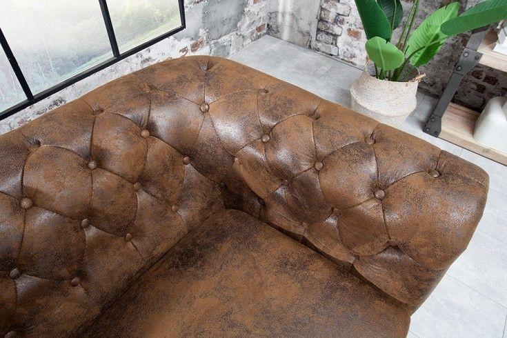 Chesterfield 2er Sofa 150cm Antik Braun Mit Knopfheftung Und Federkern 2er Sofa Sofa Chesterfield Sofa