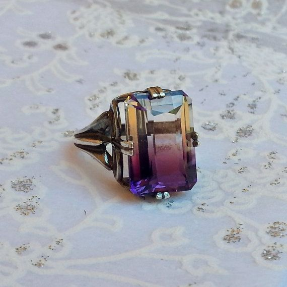 Ametrine Regalle Vintage Sterling Silver Cocktail Statement Ring. Magnolia Jewel Designs, $142.00