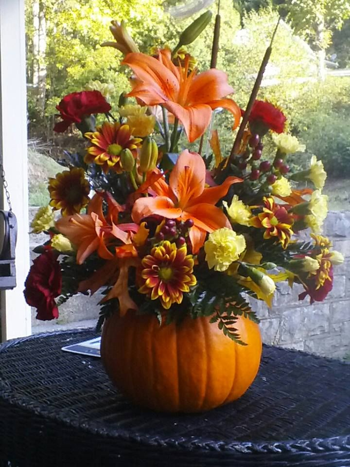 Beautiful Fall Pumpkin Flower Arrangement Fall Candle