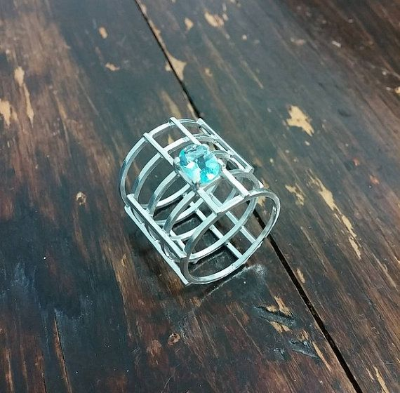 Blue Topaz Matrix Ring in Sterling Silver  Handmade by NinaRaizel