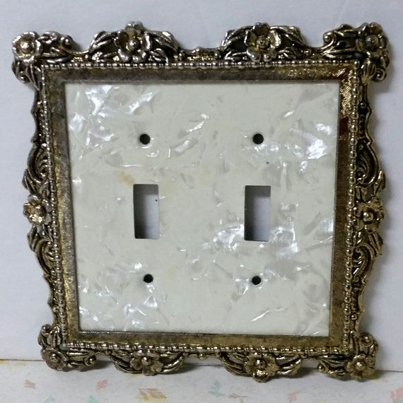 Vintage Br And Lucite Light Switch Cover Double