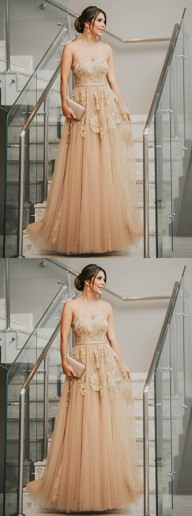 Elegant aline sweetheart open back champagne tulle long prom