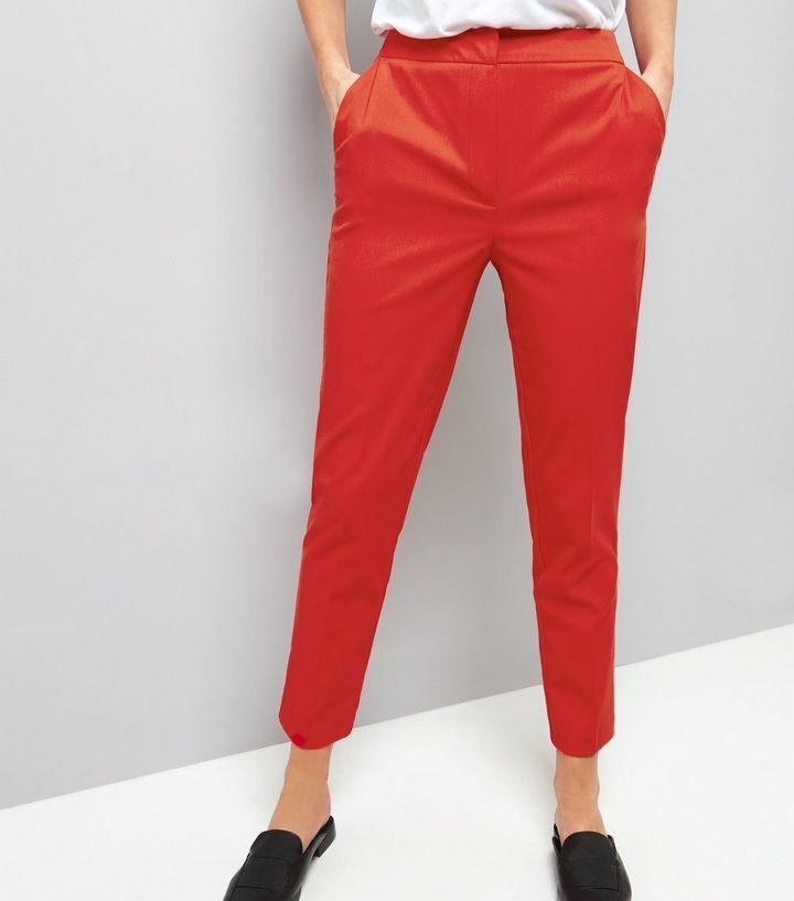 Red Slim Leg Trousers  | New Look