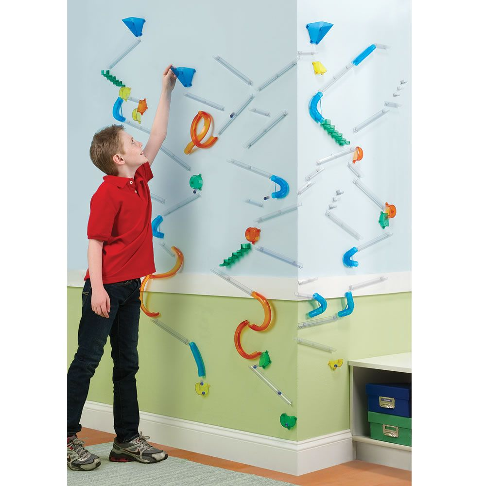 The Wall Mounted Marble Roller Coaster Hammacher Schlemmer Kids Roller Coaster Coasters Diy backyard roller coaster kit