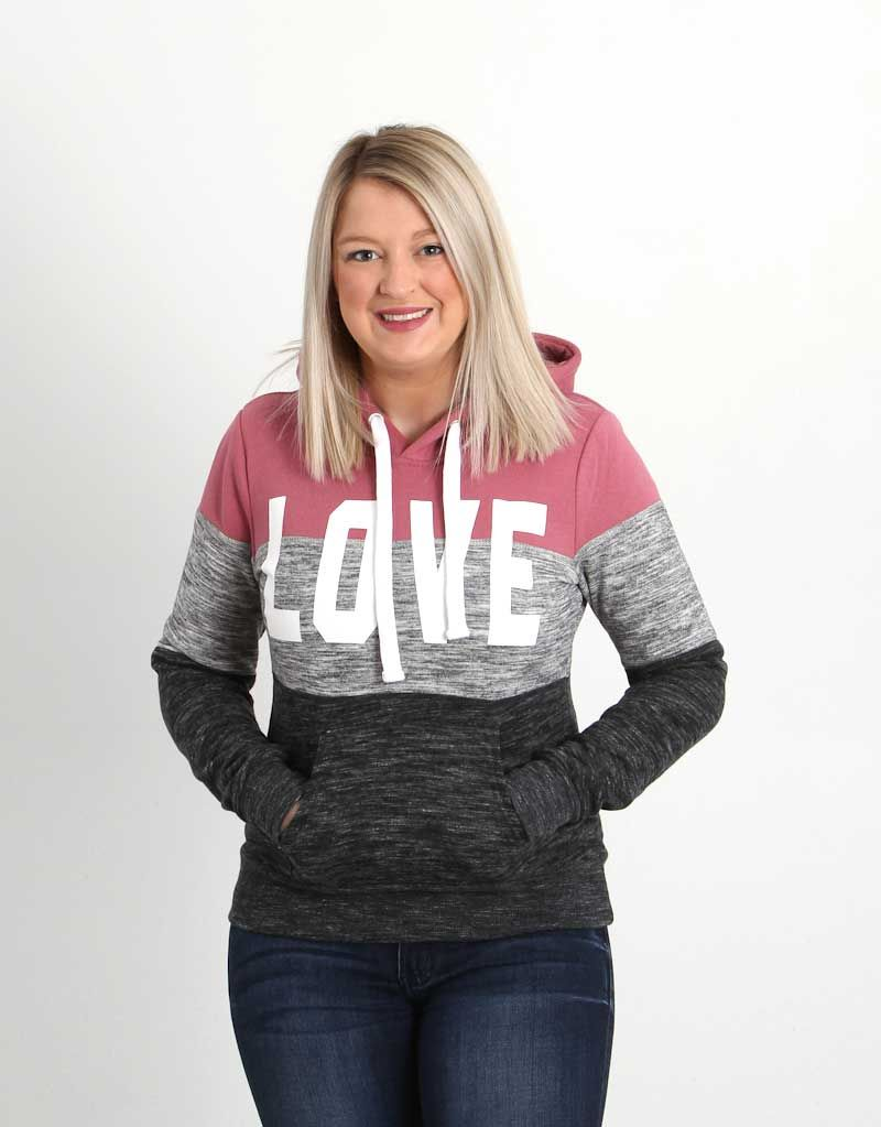 ccf3f805c Reflex Clothing Color Block Love Hoodie for Women in Begonia Pink  JU045-BEGPNK