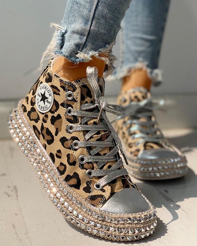 Leopard Rivet Embellished Lace-Up