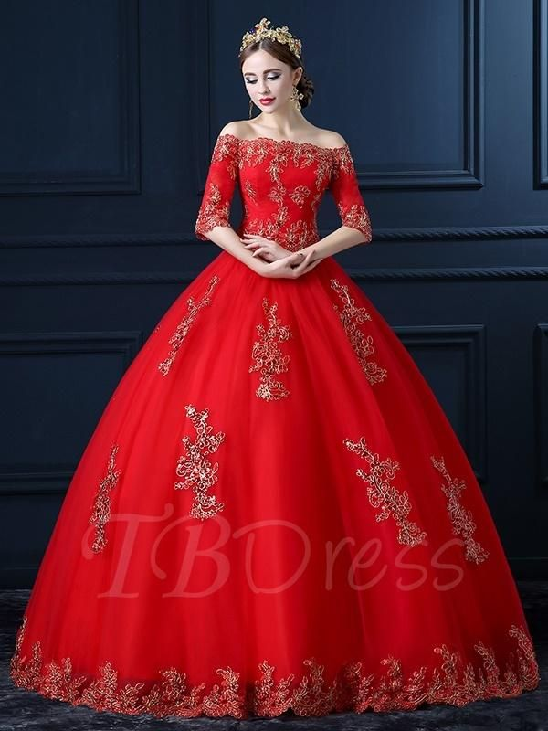 5646a34f42c4 #TBDress - #TBDress Red Off-The-Shoulder Appliques Ball Gown Royal Lace  Wedding Dress - AdoreWe.com