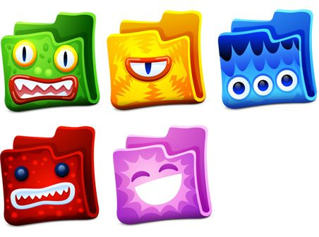 5 replacement icons of colored folders with creatures faces ...