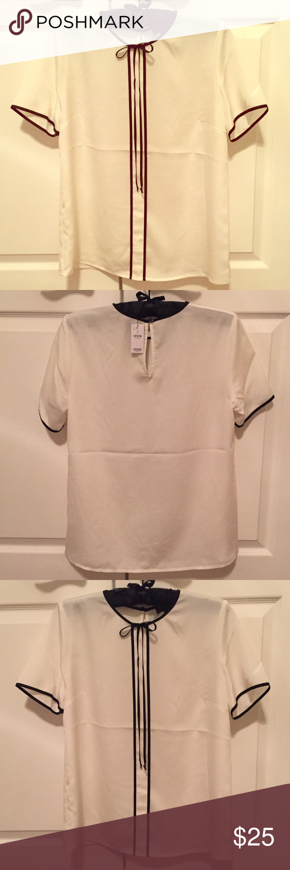 *NWT* The Limited blouse Brand new with tags! White with a pearl-like sheen, black trim & bow 🔲 don't be afraid to make an offer or comment with any questions! The Limited Tops Blouses