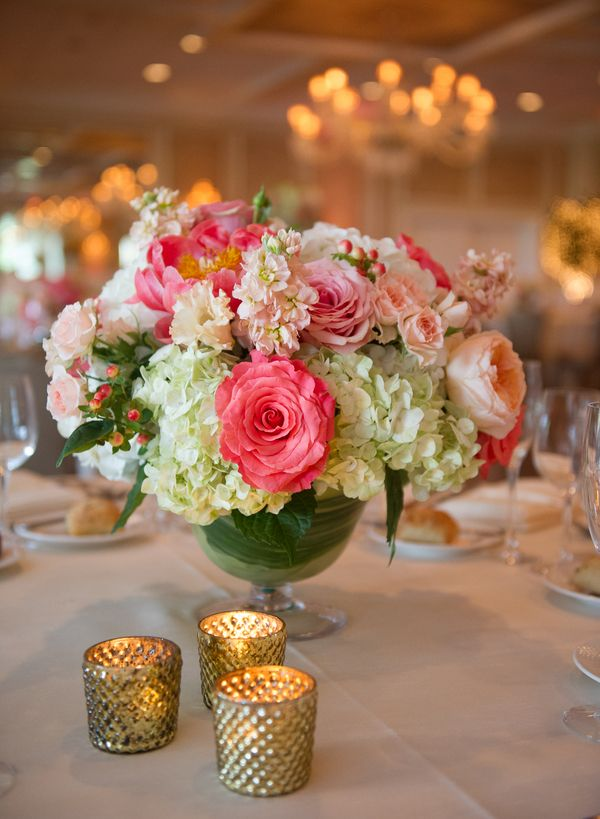 Hot pink and ivory centerpiece centerpieces