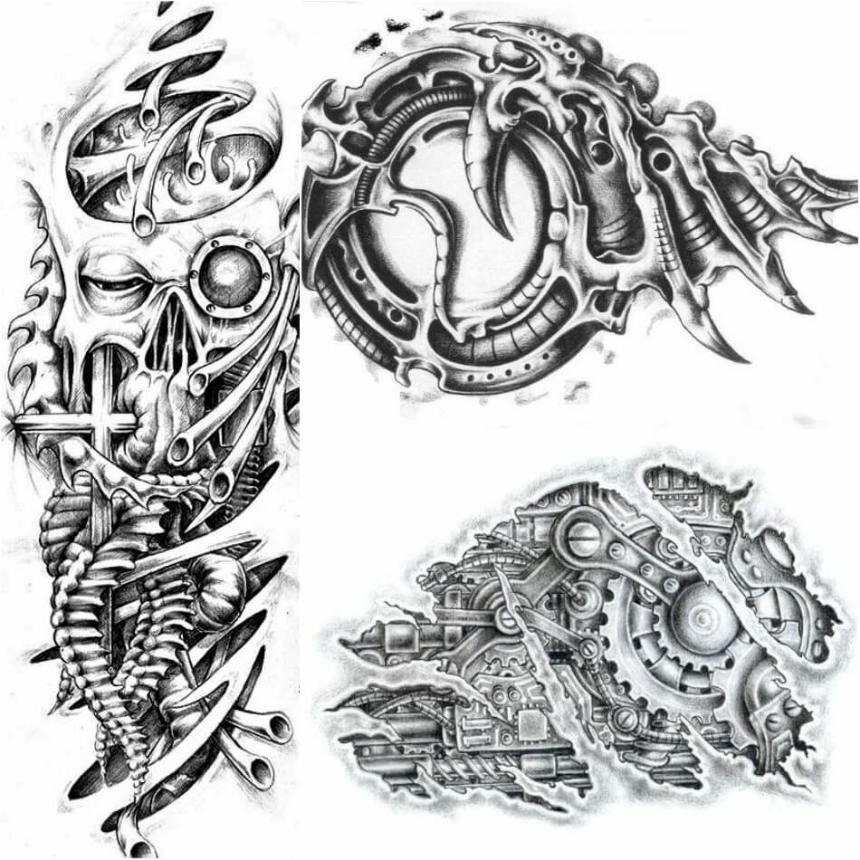 3D Biomechanical Tattoos Bio Robot Tattoo with a lot of