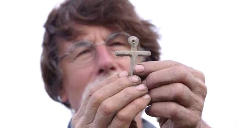 A Medieval cross found on The Curse of Oak Island could