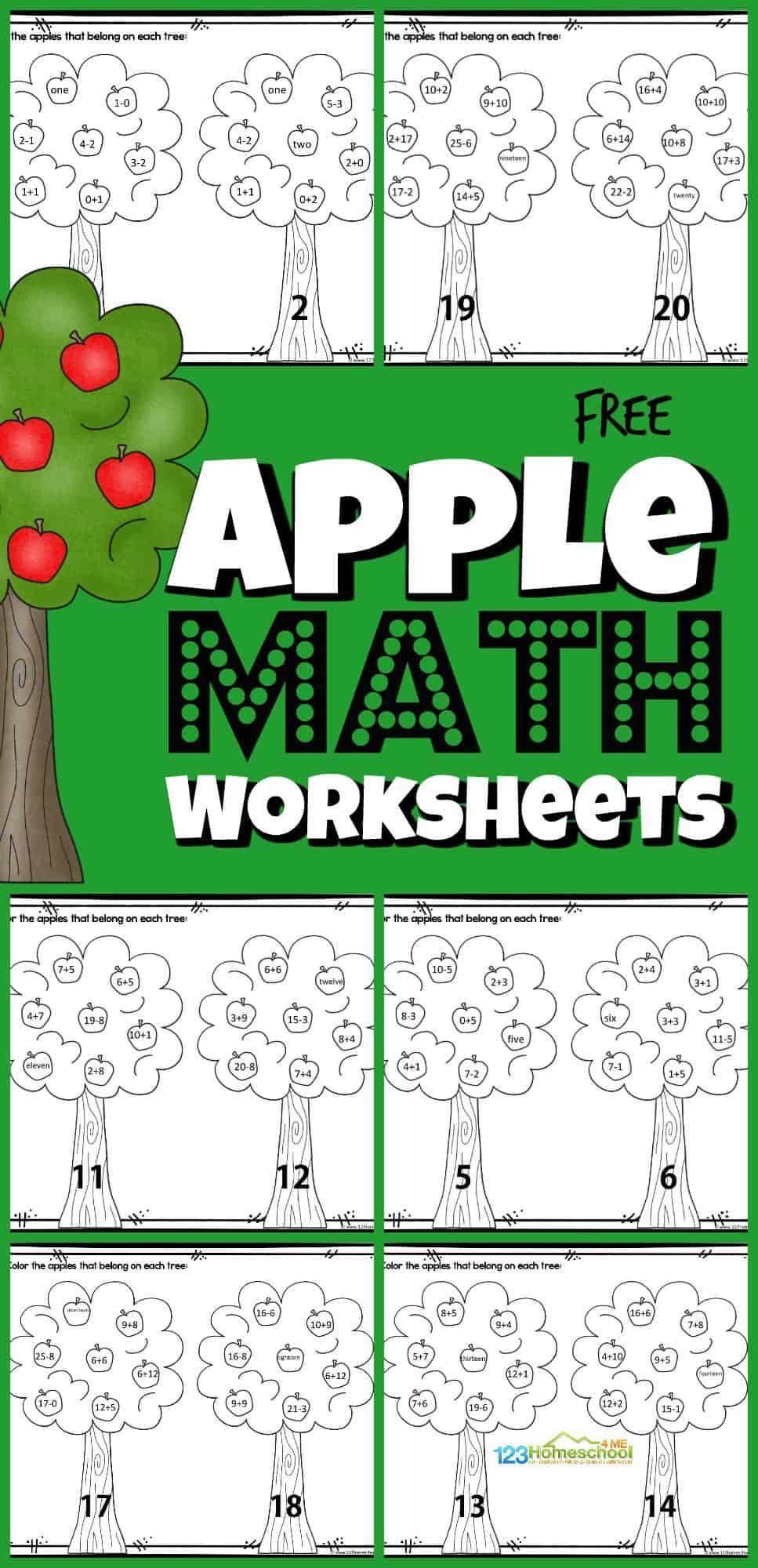 Apple Math Worksheets Apple Math Worksheets Apple Math Math Worksheets