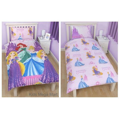 Reversible Disney Princess Sparkle Single Doona Cover Set ~ Available at Kids Mega Mart Shop Australia