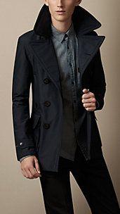 Leather Detail Seam-Sealed Pea Coat