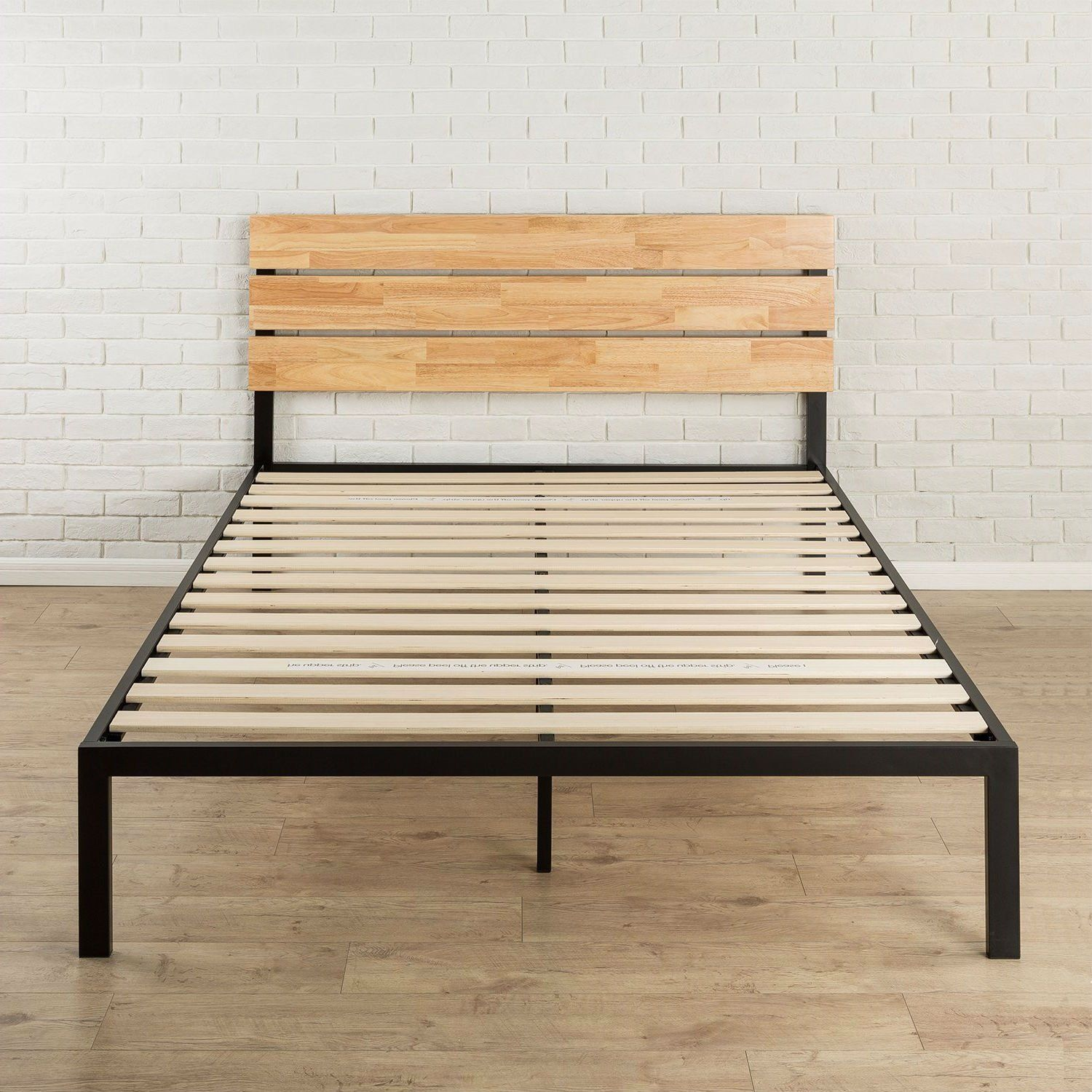 Queen Size Modern Wood And Metal Platform Bed Frame With