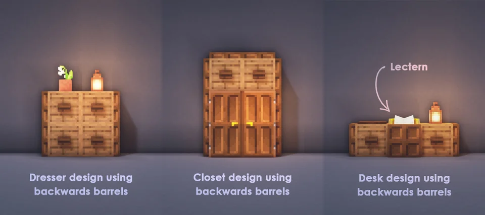 Three Cool Designs Using Backwards Barrels Since I Don T See Them Used A Lot Minecraft Minecraft Room Minecraft Decorations Minecraft Designs