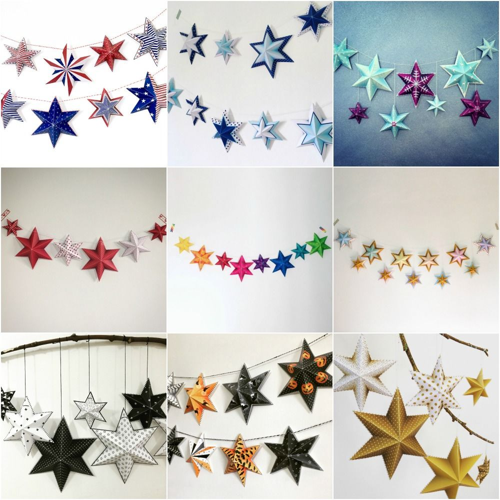 Make Your Own Party Decoration Diy Paper Stars Garland For