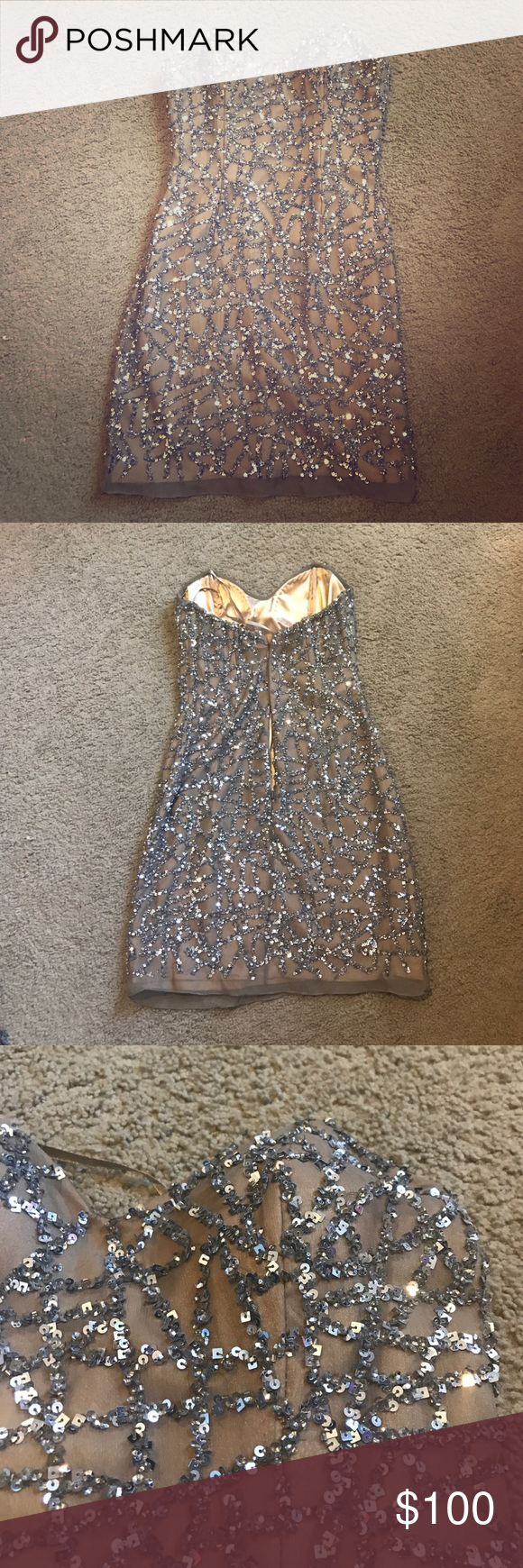 Nude Sequin dress Worn only once to my senior homecoming, this dress is my all time favorite. Perfect for prom or a formal occasion. Wish I could still fit into this!! Scala Dresses Prom