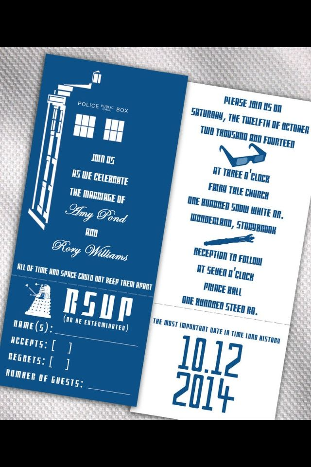 Doctor Who Wedding Invitations. | Doctor Who Wedding | Pinterest ...