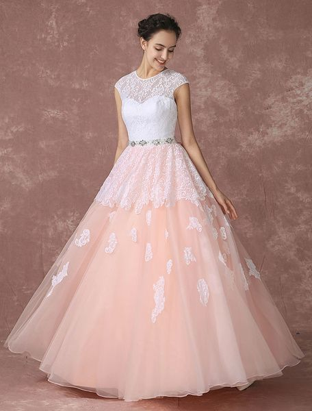 Brush #Wedding #Dress Lace Pink Bridal Gown Backless Floor-length A-line Tulle Bridal Dress With Rhinestone Sash And Ribbon Bow
