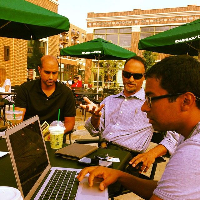 #TBT  Co-Founders, Samir and Rao, discussing #marketing opportunities with @shashib at our favorite @Starbucks.