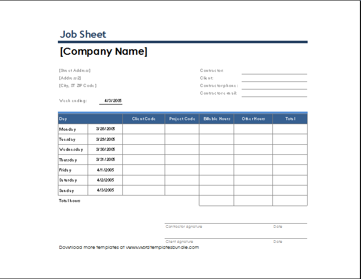 Perfect Job Sheet Template In Job Sheet Template Free