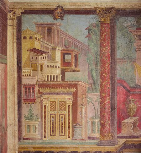 Fresco wall painting in a cubiculum bedroom from the for Ancient roman mural