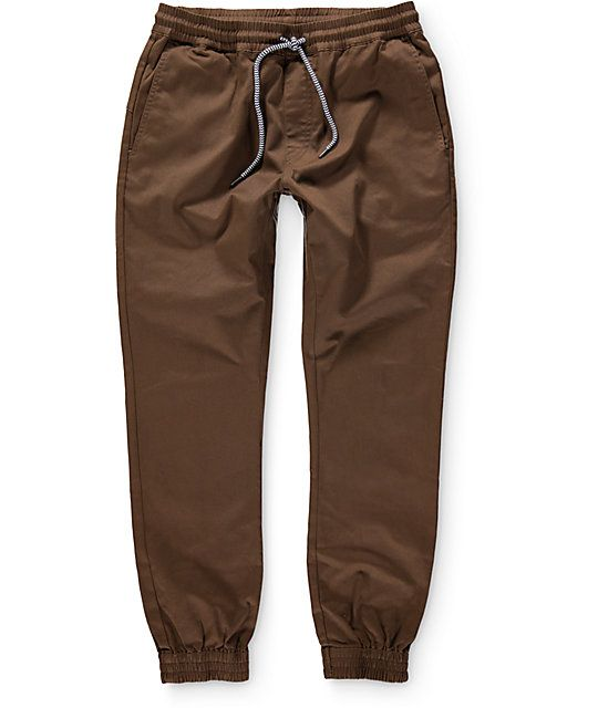 dc82e2d2cdbef Get on point with your style with this brown joggers crafted with a soft…
